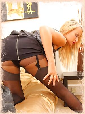 Smiling blonde in her layered nylons