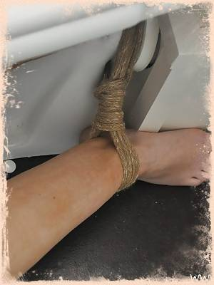 Slut is forced to cum hard in the bathroom while tied up!